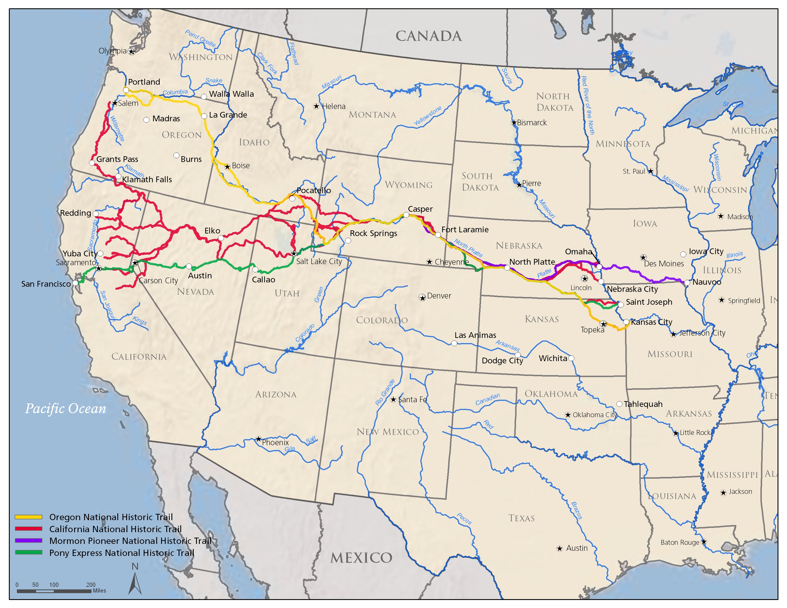 NPS PEPC  Map of Existing Designated National Historic Trails