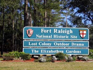 Fort Raleigh Entrance Sign