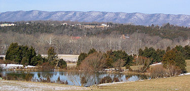 Pond near the Whitham Farm with the Allegheny Mountains in the background.