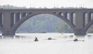Boaters under Key Bridge