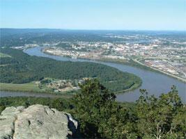 view of Moccasin Bend from Lookout Mountain