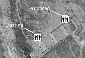 Aerial view of current location of porta-potties and proposed location for new restrooms.