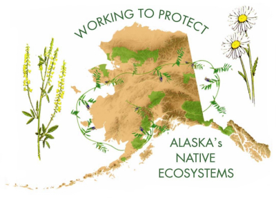 The cover image depicts a tan map of Alaska with NPS units shown in green and invasive plants species wrapped about and shown astride the map of Alaska.