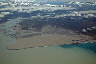 Aerial Photograph of Dry Bay area in Glacier Bay National Preserve