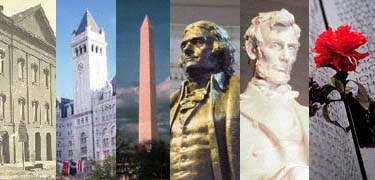 images from different monuments of the National Mall