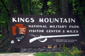 Kings Mountain National Military Park entrance sign.