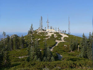 View of existing telecommunications buildings and towers and surrounding forest on Shasta Bally summit (6,188 ft.)