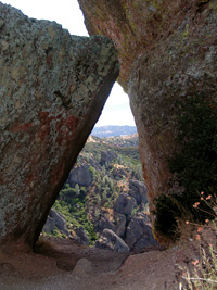 Pinnacles National Monument view through a rock crevice.