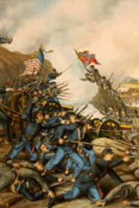 "A portion of the painting ""Battle of Franklin"", by Kurz and Allison, 1891."