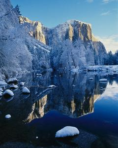 The Merced River in winter, shown flowing by the iconic El Capitan in Yosemite Valley. Photo by Christine White Loberg/NPS