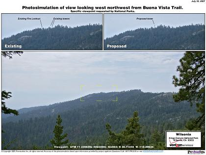 Photo simulation of Tower from Buena Vista Trail