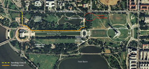 Aerial Photo of Potomac Park that shows levee system which begins in the vicinity of 23rd street and is parallel to the Lincoln Memorial Reflecting Pool.  The levee connects with the Washington Monument Grounds at 17th street.