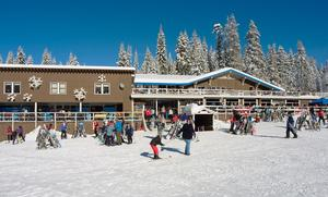 Photo of Badger Pass Ski Lodge during the winter, courtesy of Kenny Karst, Delaware North Companies Parks and Resorts