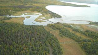 Brooks River, Brooks Camp, and Naknek Lake as viewed from an airplane.
