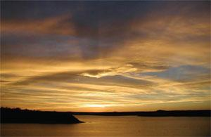 sunset image at Lake Meredith National Recreation Area