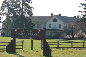 View of Building 989, a ca. 1904 Infantry Barracks structure, one of 19 historic structures in the East and South Barracks.