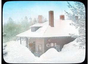 This photo of the Bechler Ranger Station, taken in the 1930's, depicts the typical winter snow accumulation common to the area.