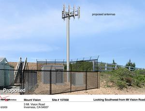 Simulation of how the proposed wireless communication tower, support buildings, and perimeter chain link fencing might appear if viewed from Mt. Vision Road looking to the southwest. A portion of the existing FAA facility is visible to the left of the simulated Verizon facility.