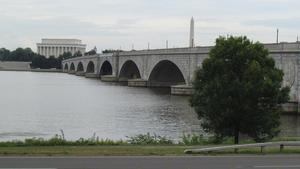 View of the Arlington Memorial Bridge, Lincoln Memorial, and Washington Monument from the George Washington Memorial Parkway