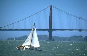 Sail boat near Golden Gate Bridge.