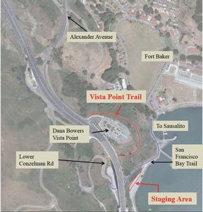 Aerial image of Vista Point Trail Project area and vicinity.