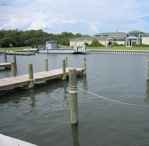 The existing boat basin and the Harkers Island Visitor Center