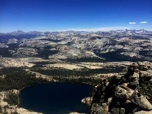 Looking towards May Lake and Tuolumne Meadows, from the top of Mount Hoffmann.