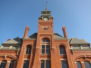 View of the brick Pullman Administration Building clocktower.