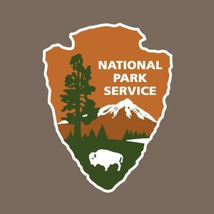 Full-color National Park Service (logo) of Arrowhead on uniform brown background.