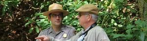 Photo of Park Ranger talking to park visitor