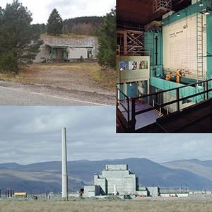 Photo contains 3 images: top left the gun site among trees in Los Alamos, New Mexico; top right is showing the Graphite Reactor in Oak Ridge, Tennessee; and the bottom image in the Hanford B reactor found outdoors under gray skies and with hills in background in Hanford, Washington.