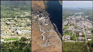 Three photos: aerial of Los Alamos, B Reactor at Hanford and Oak Ridge