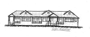 Architectural sketch of the front of proposed tri-plex housing unit