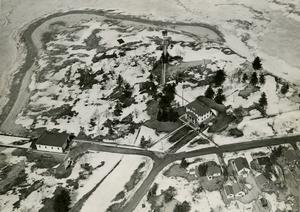 Aerial photograph of the USCG station, ca. 1940s. Taken in winter or spring,