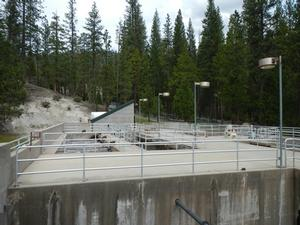 Picture of the existing Wawona Wastewater Treatment Plant. This is a view of the plant upper level looking into the treatment basins.