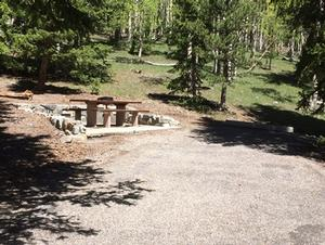Photo of campsite with campsite pad, picnic table, and flagstone wall.