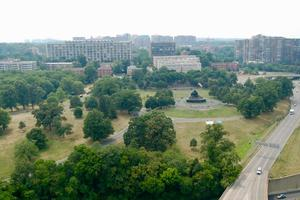 Aerial of Arlington Ridge Park and View of U.S. Marine Corps War Memorial