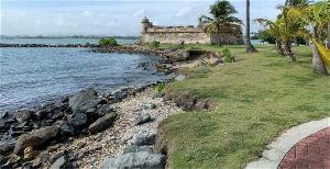 Image of Fort San Juan de la Cruz showing erosion on shoreline to the north of the fortification