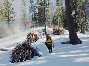 Burn piles from fuel reduction projects conducted in the summer in northern portion of Devils Postpile National Monument, are burned outside of the fire season with the assistance of firefighters from the adjacent Inyo National Forest.