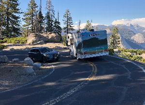 Vehicles on Glacier Point Road switchbacks